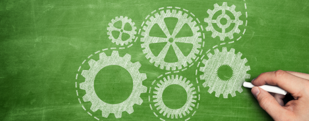 Gears drawn on a whiteboard